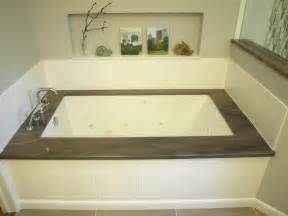 mount tub brown transitional bathroom