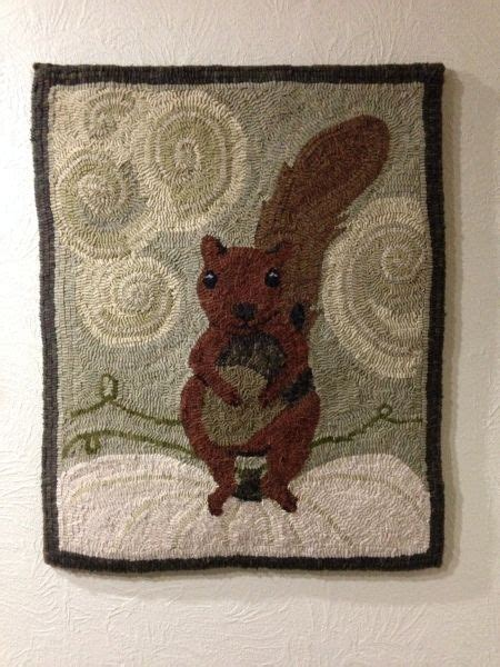 punch needle rug hooking squirrel with acorn did some small changes here rug hooking squirrel punch