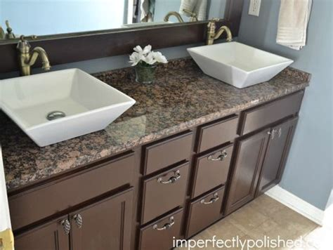 Granite Countertops For Bathroom Vanities Builder Grade Bathroom Vanity Makeover Stained Vanity And Mirror Frame Spray Painted Light