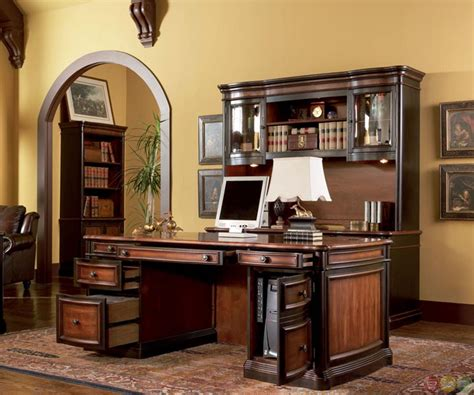 two tone wood executive home office desk with 5 drawers