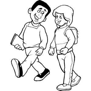 person walking coloring page students walk coloring page