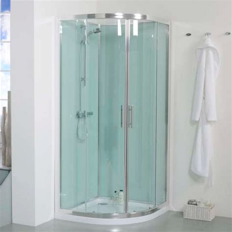 Bathroom Shower Cabins 900 Quadrant Shower Cabin With Aqua White Back Panels