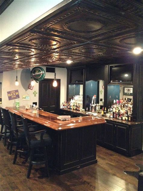 basement pub black and oak basement reno
