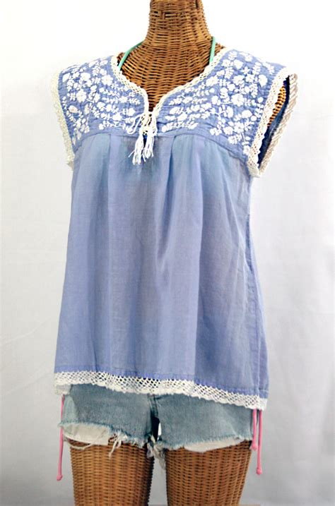 Embroidery White Tops quot la marbrisa quot embroidered sleeveless peasant blouse top
