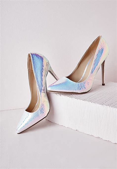 holographic high heels stiletto heel court shoe white holographic shoes high