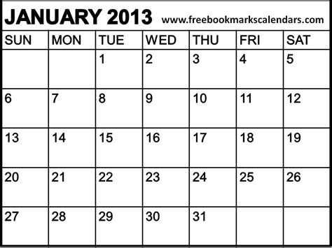 January 2013 Calendar Pin Calendar January 2013 Printable On
