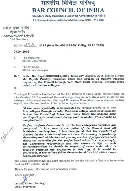 Request Letter Not To Wear Legally India News For Lawyers