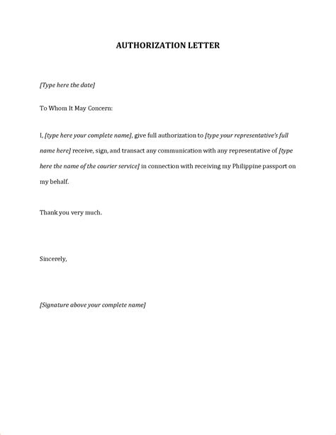 authorization letter format to get passport 8 authorization letter for passport procedure template