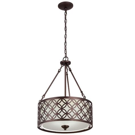 Lowes Pendant Light Allen Roth Earling 18 In W Rubbed Bronze Pendant Light With Fabric Shade Lowe S Canada