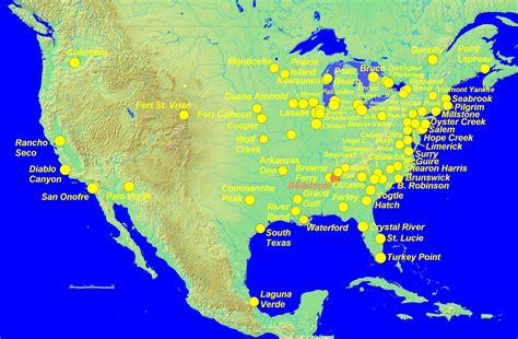 nuclear map usa united states nuclear power plants map united free