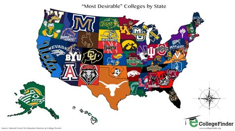map of universities in texas the most desirable college in each state map business insider