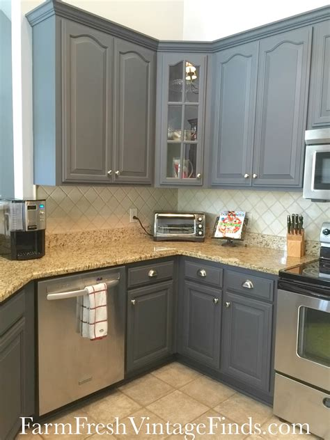 Grey Painted Kitchen Cabinets Painting Kitchen Cabinets With General Finishes Milk Paint Farm Fresh Vintage Finds