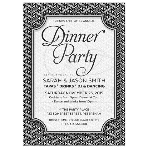 Black And White Birthday Invitation Card Template by Anniversary Dinner Invitations Invitations Card