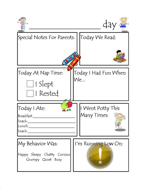 Daycare Infant Daily Report Template Toddler Daycare Daily Report Setting Up A Daycare