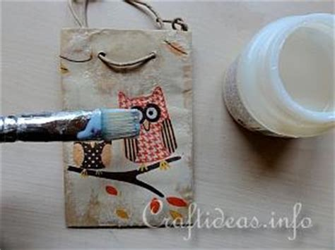 napkin decoupage tutorial fall paper craft paper napkin decoupage owl gift bags
