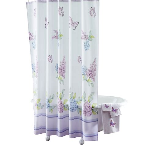 Butterfly Shower Curtains Collections Etc Lilac Butterflies Bathroom Shower Curtain Ebay