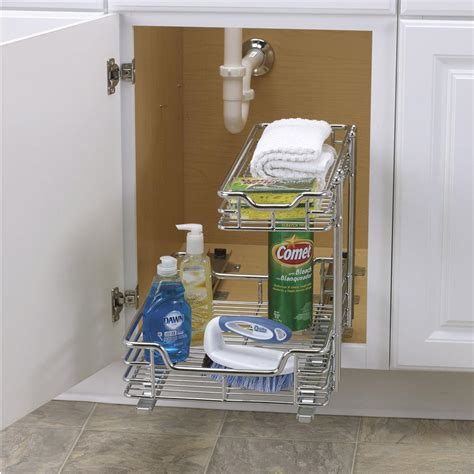 trinity sliding under sink organizer two tier under sink sliding organizer 12 quot household