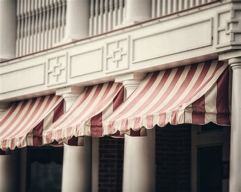 Cafe Awning by The Cafe Awnings At Chautauqua Institution New York Photograph By Russo