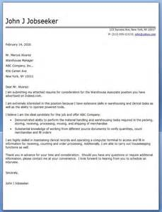 Cover Letter Warehouse by Warehouse Associate Cover Letter Career