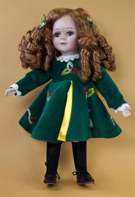 porcelain doll with green velvet dress ireland doll with hair green and a green