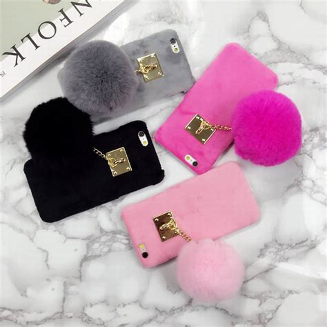 Op4536 For Iphone 6 6s Fashion Pom Pom Velvet Beludru Kode Bi 1 new fuzzy color phone cover with fashion fur phone for iphone 6 6s 6plus
