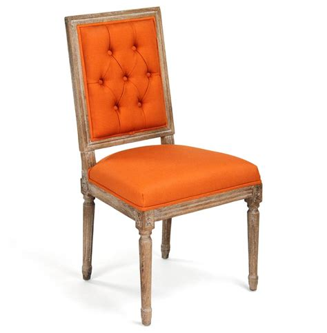 Orange Dining Room Chairs Pair Louis Xvi Orange Tufted Linen Dining Side Chair Kathy Kuo Home