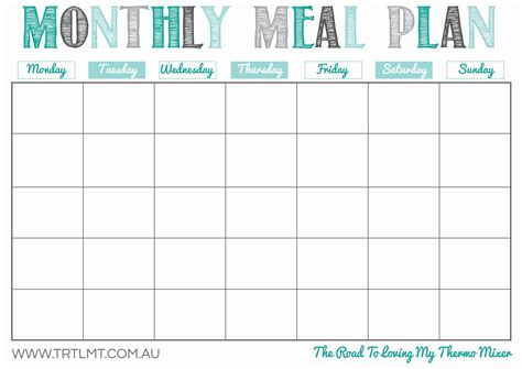 Monthly Meal Plan 2 Fb Crafts Pinterest Meals Meal Planner Template And Thermomix Family Meal Planner Template