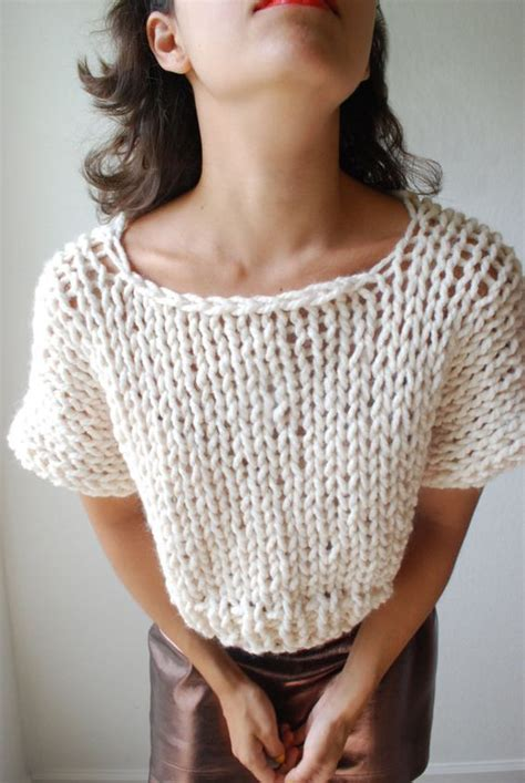 top knitting patterns the soho crop top sweater knit in fisherman par