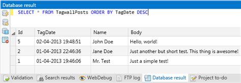 mysql date format w3c mysql database client php ide web editor tsw webcoder