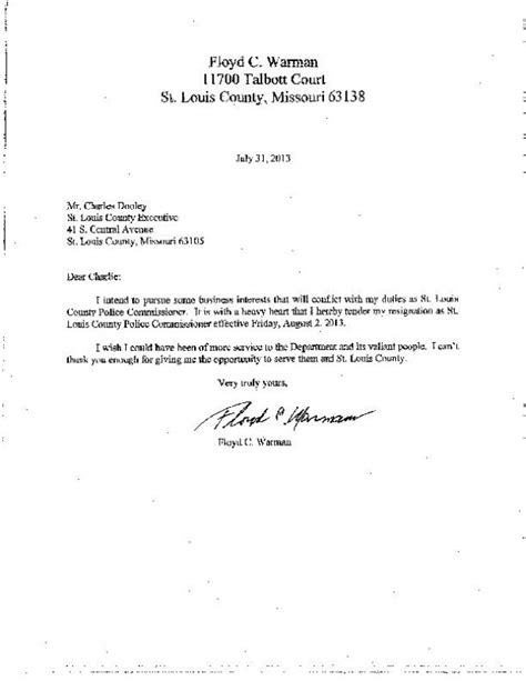 Resignation Letter For Chief Pdf Floyd C Warmann Resignation Letter