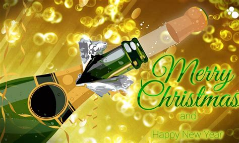 merry christmas happy  year bottle  champagne  year greeting hd wallpaper  pc tablet