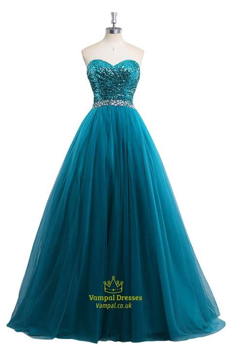 aqua blue sequin beaded sleeveless prom dress with beaded