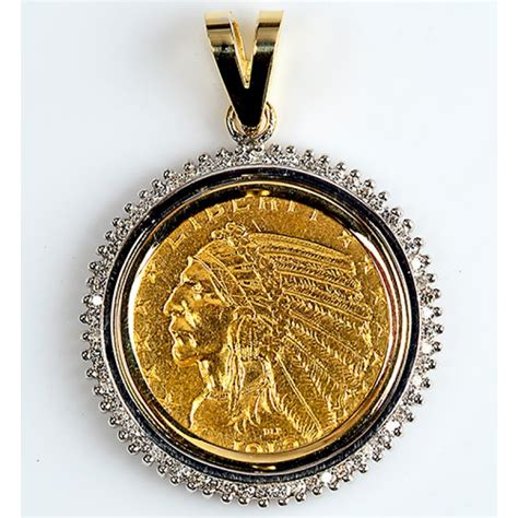5 u s indian gold coin in 14kt gold pendant