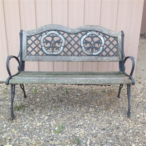 wood and wrought iron bench cast iron wood bench
