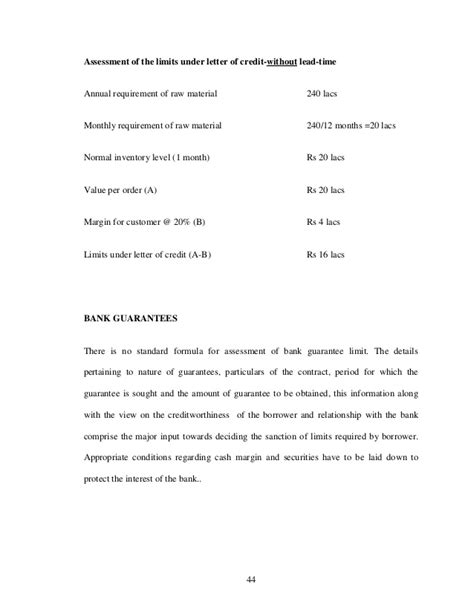 Bank Ko Letter Study Of Assessment Methods Of Working Capital Requirement For Bank O