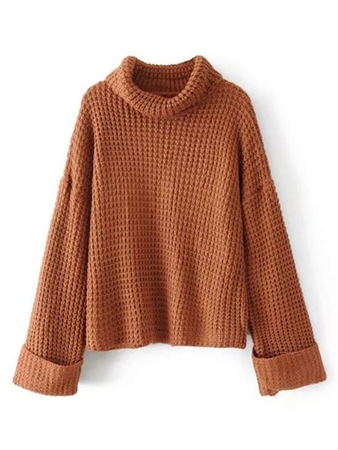 knit sweater turtleneck waffle knit sweater shein sheinside