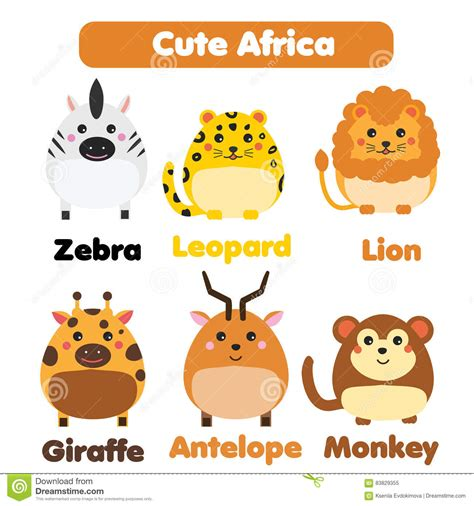 cute elements design vector set cute african animals set for kids in cartoon style cartoon