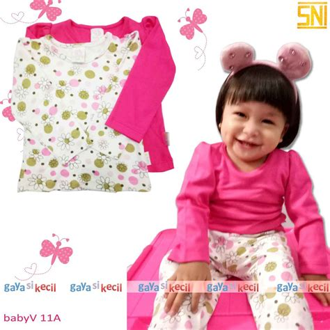Atasan V Bunga atasan kaos 2in1 lengan panjang bunga baju bayi anak cewek