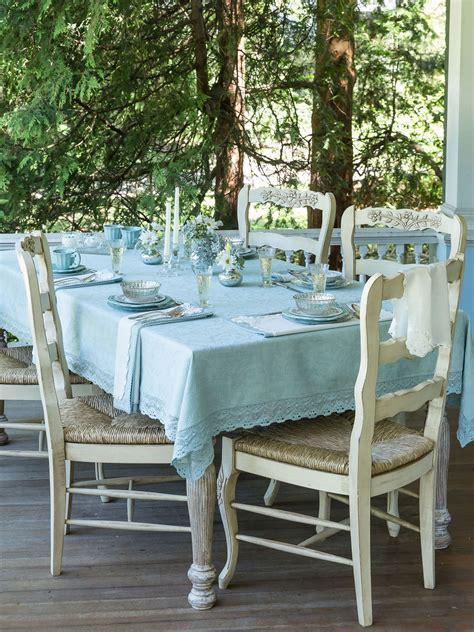 April Cornell Table Linens by Luxurious Linen Jacquard Tablecloth Mist Linens
