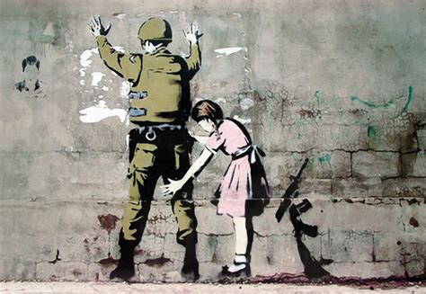 banksy street art graffiti soldier and poster