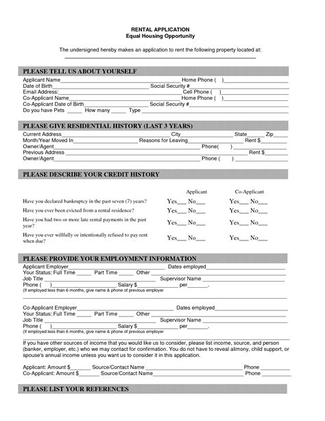 printable house rental application property blank lease agreement form free property