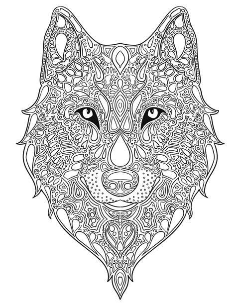 wolf mandala coloring page wolf design pesquisa google quilling pinterest