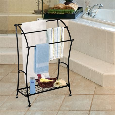 free standing towel holders for bathrooms homcom bathroom floor towel holder free standing towel rack stand black aosom ca