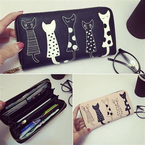 Motif Kucing dompet panjang wanita motif kucing blue jakartanotebook