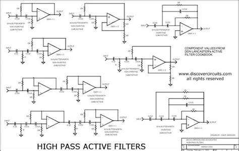 high pass filter non inverting discovercircuits high pass active filter collection
