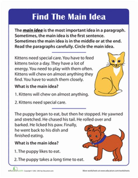 finding the main idea of a story worksheet education com