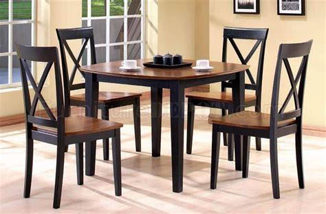 two tone dining table set black walnut two tone finish 5pc modern dining table set