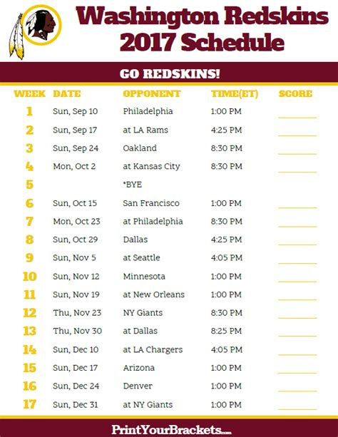 printable nfl schedule 2017 2017 washington redskins football schedule printable nfl