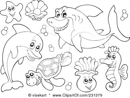 vector animals ocean animals coloring pages free