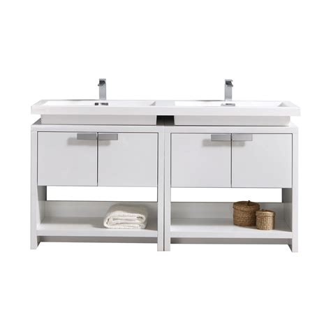 White Modern Bathroom Vanity by Levi 63 Quot High Gloss White Modern Bathroom Vanity W Cubby